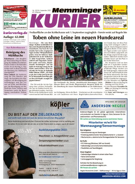 Memminger Kurier Wochenende vom 04.09.2021