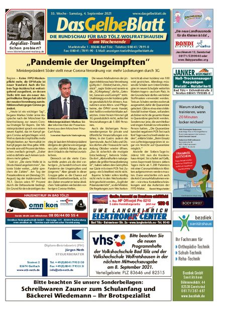 Rundschau Bad Tölz/Wolfratshausen Wochenende vom 04.09.2021